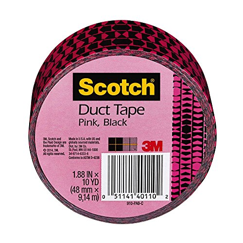 Scotch Duct Tape, Pink and Black, 1.88-Inch x 10-Yard