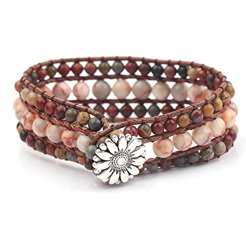 Picasso Bead Bracelet - rongji jewelry Handmade Bohemian Natural Stones Bracelet - Leather Bracelet with Chakra and Beads Wrapped for Women and Girls (3 Layers Picasso Stone)