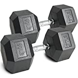 Pair 90 lb Black Rubber Coated Hex Dumbbells Weight Training Set 180 lb Fitness