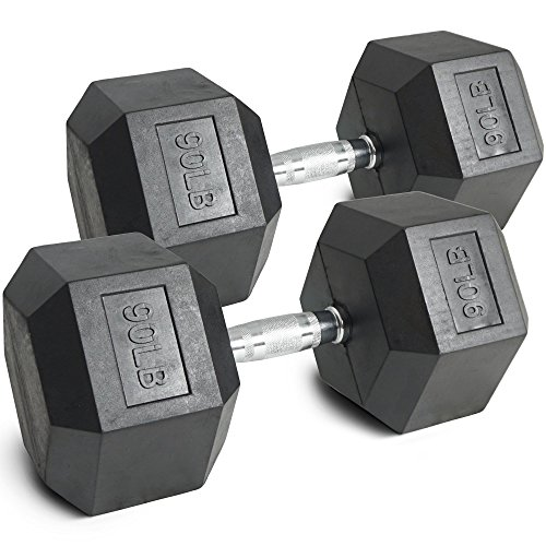 Pair 90 lb Black Rubber Coated Hex Dumbbells Weight Training Set 180 lb Fitness by Titan Fitness