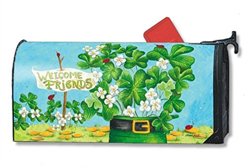 Shamrocks and Ladybugs Large St. Pat's Mailbox Cover Oversized Mailwraps