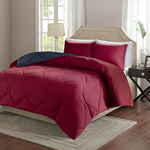 Comfort Spaces – Vixie Reversible Down Alternative Comforter Mini Set - 3 Piece – Red and Navy – Stitched Geometrical Diamond Pattern – Full / Queen size, includes 1 Comforter, 2 Shams