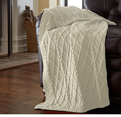 un 1pc 50x70 Oversized Off White Throw Blanket, French Country Classic Large Knits Bordered, Weaved Knitting Cotton, Cable Knit Diamond Design Lattice Pattern Lightweight