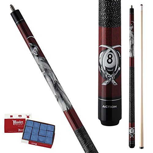 Action Adventure ADV102 Burgandy Reaper & Eight Ball Pool Cue Stick with 12 pieces of Master Billiard Chalk (19)