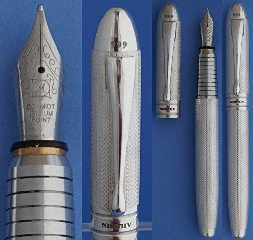 Sterling Silver Fountain Pen - Nisstiiv 999 Silver Fountain Pen for Briefcase, Travel, Schimdt or Standard Cartridges