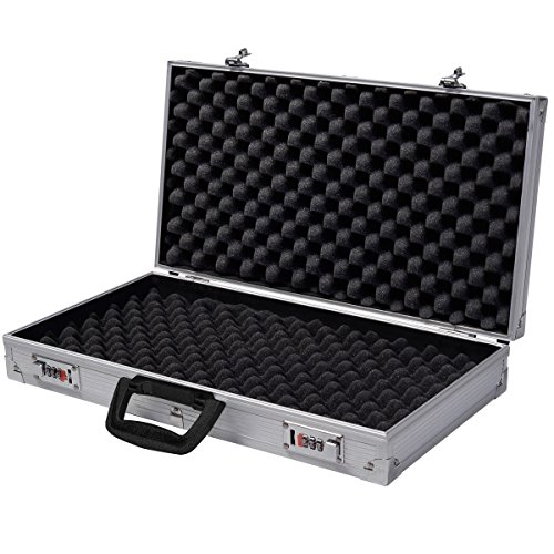 Generic QYUS4160215277381225 Pistol HandGun um New Framed Locking Gun Aluminu Aluminum New Locking Hard Storage Carry Case ry Case Lock Box torage Carry Case