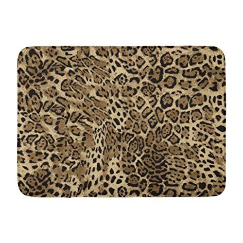 Darkchocl Decorative Bath Mat Orange Skin Leopard Animal Abstract Cheetah Black Leopard Skin Animal Absorbent Non-Slip 100% Flannel 17''L x 24''W for Bathroom Toilet Bath tub Living ()