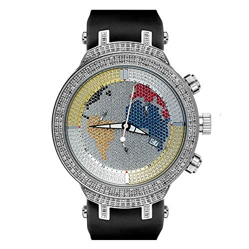 Joe Rodeo JJM6 Master Man Diamond Watch, Silver Dial with Black Band