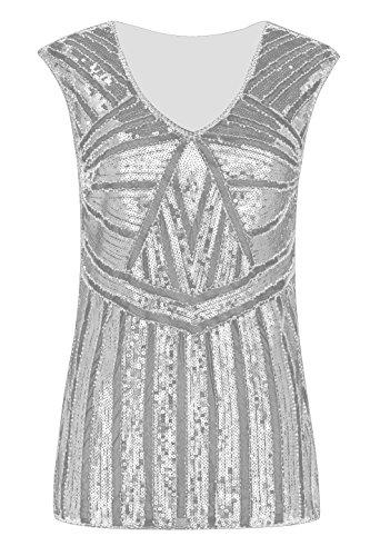 Metme Women Vintage V Neck Slight Loose Flashy Sequin Sparkly Vest Tops Tank Tops Gray Silver -