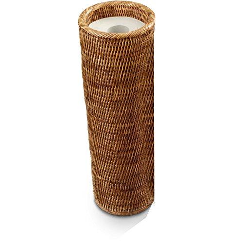 (DWBA Malacca Round Free Standing Toilet Paper Holder Bathroom Storage - Rattan (Dark Rattan))