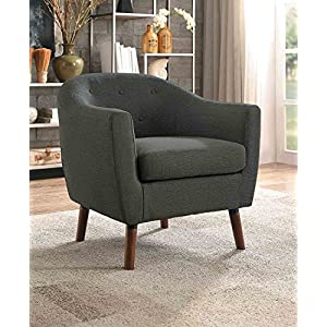 Homelegance Lucille Button Tufted Low-Raised Curved Backrest Accent Chair with Polyester Cover