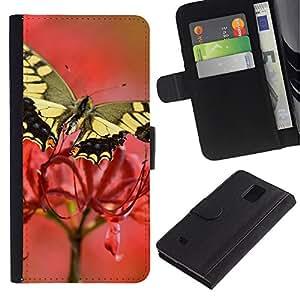 All Phone Most Case / Oferta Especial Cáscara Funda de cuero Monedero Cubierta de proteccion Caso / Wallet Case for Samsung Galaxy Note 4 IV // Moth Butterfly Flower Spring Nature