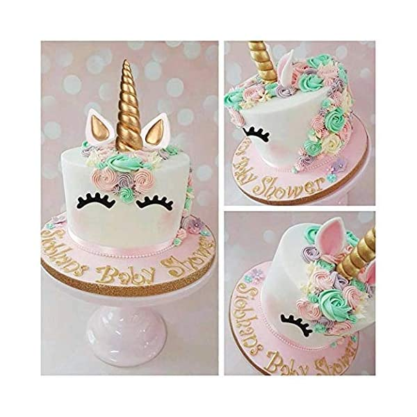 FZR Legend 3D Gold Unicorn Cake Topper with Eyelashes,Horn and Ears,Unicorn Party Supplies for Girls Boys Birthday Party… 9