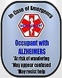 #10: Alzheimers Medical Alert Safety Decal Sticker