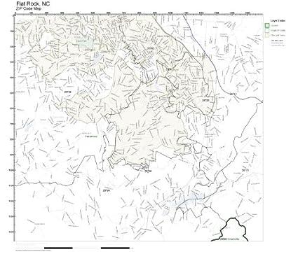 Amazon Com Zip Code Wall Map Of Flat Rock Nc Zip Code Map