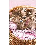 Serviette de plage Chat rose, 100% coton 75 x 150 cm