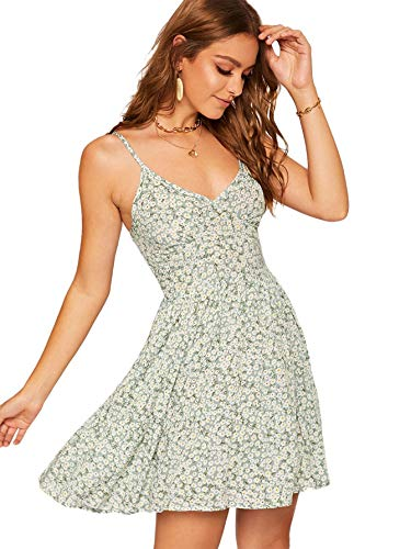 SheIn Women's High Waist Fit and Flare Vneck Floral Spaghetti Strap Cami Dress Large - Cami V-neck Dress