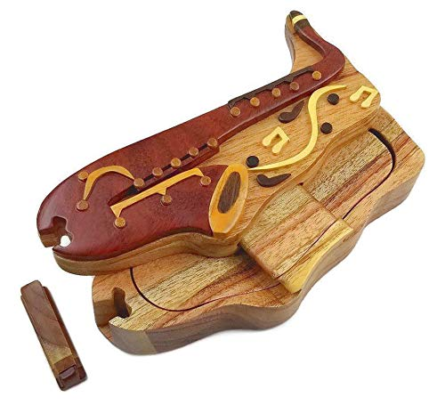 (Saxophone with Musical Notes All Natural Exotic Woods Puzzle Box, 7 x 3.5 x 2