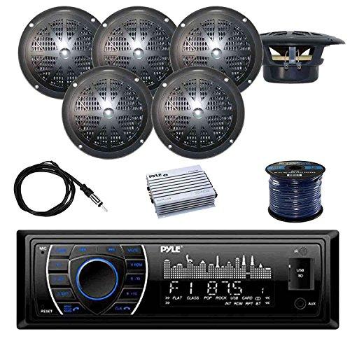 - PYLE PLRMR27BTB Marine Bluetooth Receiver Stereo(Black) w/Pyle Waterproof Stereo Speakers (Black) (3-Pairs), Pyle 4 Chan.Marine Amp, Enrock EKMR2 Marine Antenna, Enrock Audio 50 Foot 16-G Speaker Wire