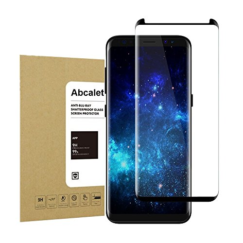 Galaxy S8 Plus Tempered Screen Protector,Abcalet [Full Coverage] [Bubble-Free][Anti-Scratch] 9H Hardness HD Clear Film Screen Protector for Samsung Galaxy S8 Plus Black