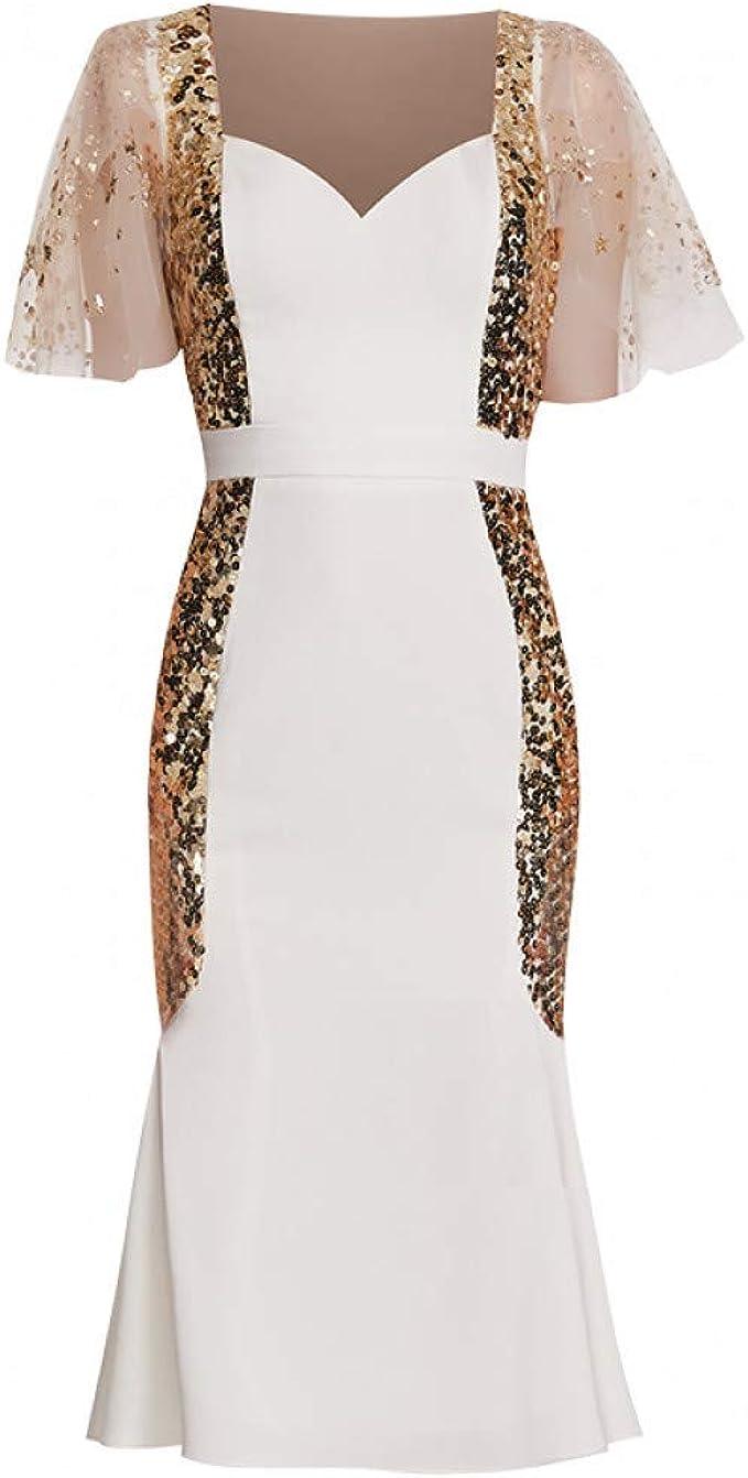 BINGQZ Kleid Cocktailkleider Weißes Kleid Bankett Host Kleid kurz