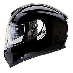IV2 Falcon 967 - Gloss Black Bluetooth Compatible High Performance Dual Visor, Full Face Street Motorcycle Helmet with Retractable Sun Shield - Original Design Series [DOT] - Large