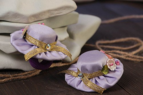 Set Of 2 Handmade Decorative Hair Ties With Light Violet Mini Top Hats ()