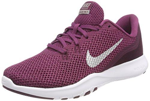 Nike Women's Flex Trainer 7 Tea Berry/Metallic Silver Ankle-High Fabric Running Shoe - -