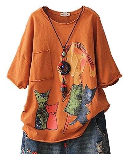 YESNO E78 Women Casual Loose Tee T-Shirts Tops Cartoon Printed Rolled Hem Ripped Short Sleeve Pocket (L, Orange)