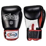 Ringside Fairtex Muay Thai-Style Sparring Glove,Black/White,12 oz
