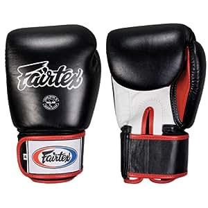 Fairtex Boxing Kickboxing Muay Thai Style Sparring Gloves Training Punching Bag Mitts (8 oz, Black/White)