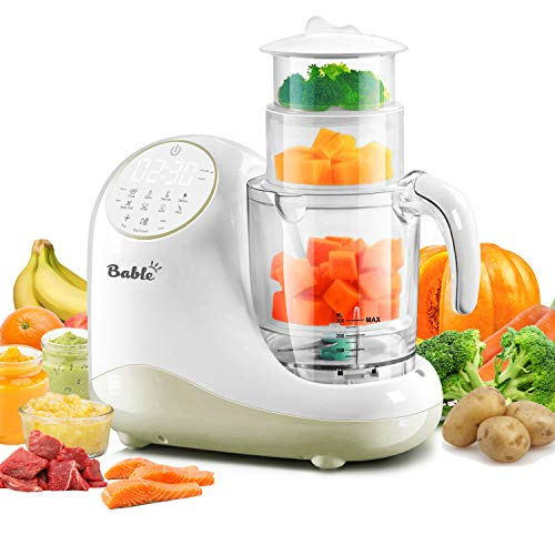 Baby Food Maker for Infants and Toddlers, Bable All in 1 Food Processor Mills Machine with Steam, Blend, Chop, Disinfect, Reheater, Grinder and Auto Cleaning, Touch Control Panel, Auto Shut-Off from BABLE