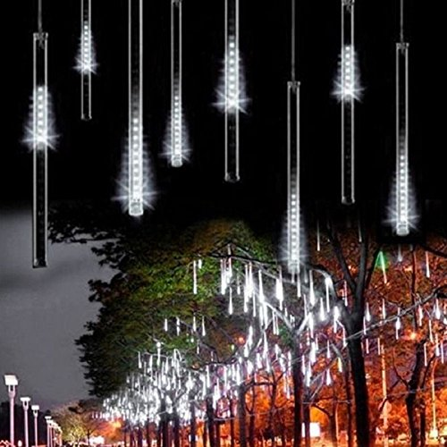 Alkbo White Color Meteor Shower Rain Lights Waterproof String for Wedding Party Christmas Xmas Decoration Tree Party Garden Xmas String Light Outdoor 8 Tube
