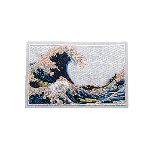 The Great Wave Off Kanagawa Patches Iron on Sew on Embroidery Patch Applique DIY Accessories(3.9