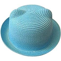 Voberry Unisex Kids Cat Ear Straw Hat Beach Sun Visor Cap Summer Breathable Hat for Boys Girls (Sky Blue)