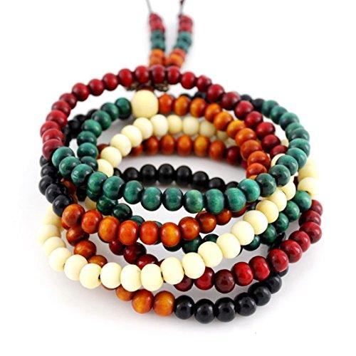 Country Style Beadwork Stretch Round Wooden Beads Wrap Bracelet - Set Wood Bracelet