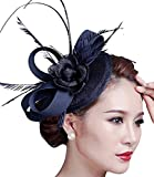 Sinamay Fascinator Hat Feather Party Pillbox Hat Flower Derby Hat for Women (A Navy)