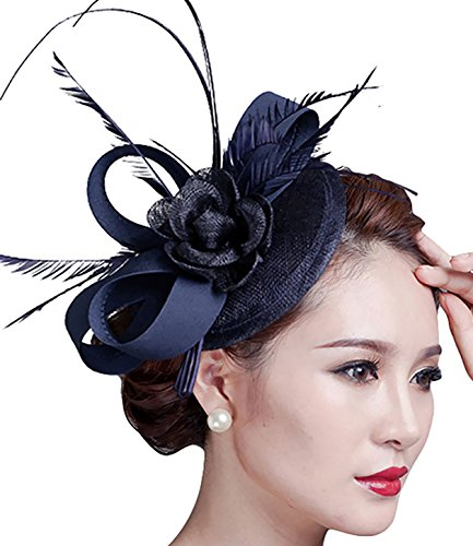 Fascinators Hat, Fascigirl Sinamay Feather Veil Flower Pillbox Hat Hair Clip Kentucky Derby Hat for Women Girls Party Wedding ()