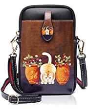 APHSION Women Crossbody Bags Small Shoulder Bags for Cellphone Cartoon Pattern Designer Leather Cross Body Purse Cell Phone Pouch 4.5 to 5.8 inch Gift Box(163)