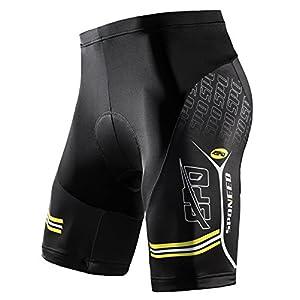sponeed Bike Compression Shorts, Men's Biker Shorts Bicycle Half Pants Road MTB Short Asian XL US L Yellow