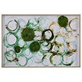 """Modern Green, Brown Circles with Moss, in White Wood Frame, 36"""" x 24"""""""