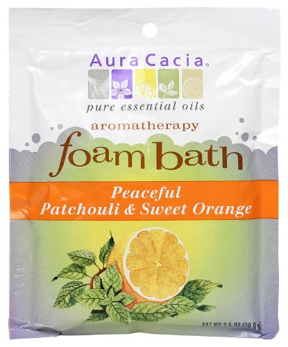 Aura Cacia Aromatherapy Foam Bath, Peaceful Patchouli and Sweet Orange, 2.5 ounce packet (Pack of ()