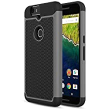Nexus 6P Case, MoKo [Shock Absorption] Slim Dual Layer Protective Case with Soft Silicone Bumper and Rigid PC Back Cover for Google Nexus 6P 5.7 Inch (2015) - Gray (NOT FIT Nexus 6 2014 Version)