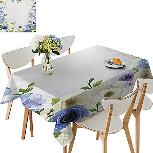 - Print Pattern Tablecloth,Romantic Natural Floral Frame Design with Roses Peonies and Fresh Spring Leaves Polyester Table Cover Great for Parties,33.5W x 73L Inches Multicolor