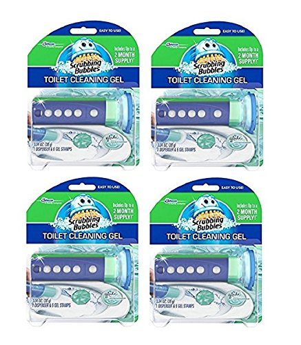 (Scrubbing Bubbles Glade Rainshower Toilet Cleaning Gel, 4 Dispensers with 24 Gel)
