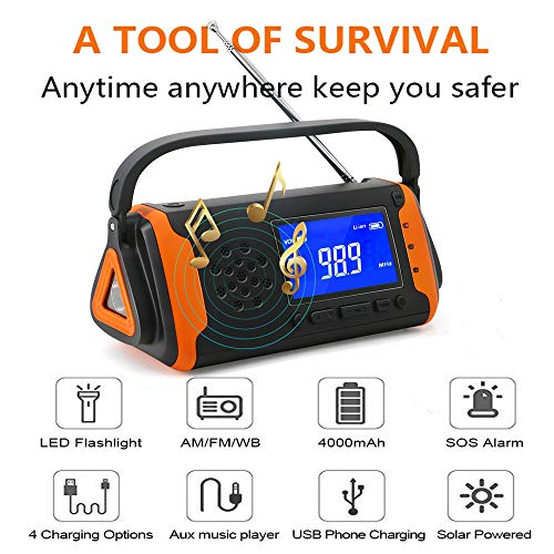 EJEAS Emergency Weather Solar Crank AM/FM NOAA Radio with SOS Alarm Portable 4000mAh Power Bank, Bright Flashlight, Reading Lamp and AUX Music Player for Household Emergency and Outdoor Survival by EJEAS (Image #1)