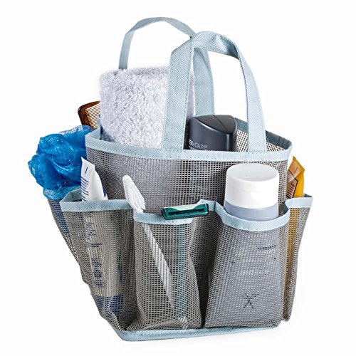 Mesh Portable Shower Tote and Caddy - Multiple Colors Available. Perfect For Dorm, Gym, Bath with Handles. Fast Drying, Gray with Aqua Trim