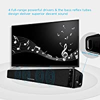 ARVICKA TV Sound Bar, HIFI Bluetooth 4.0 Stereo Wireless on Wall TV Speaker, Surround Sound Bass Enhanced Soundbar for TV/ PC/ iPod/ Phones/ Tablets/ PSP/ Echo Dot, 2nd Gen by iGotSmart