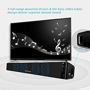ARVICKA TV Sound Bar, HIFI Bluetooth 4.0 Stereo Wireless on Wall TV Speaker, Surround Sound Bass Enhanced Soundbar for TV/ PC/ iPod/ Phones/ Tablets/ PSP/ Echo Dot, 2nd Gen by iGotSmart