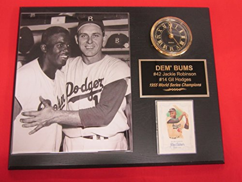 Jackie Robinson Gil Hodges Brooklyn Dodgers Collectors Clock Plaque w/8x10 RARE Photo and Card